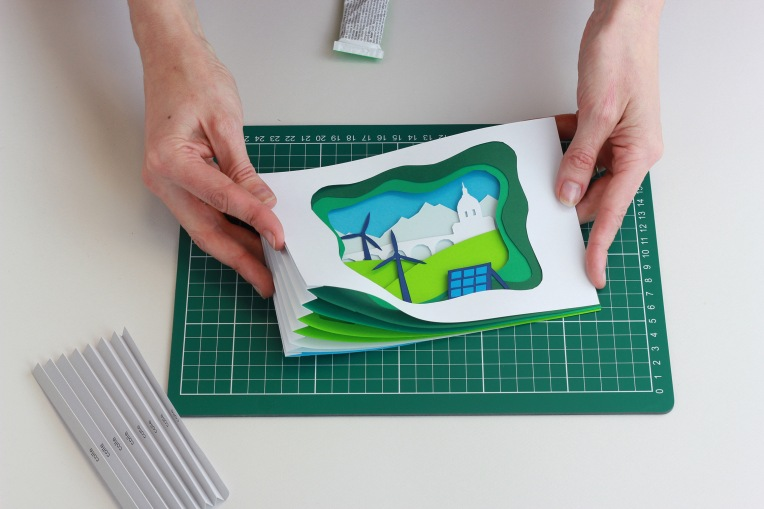 carte relief soleil midi paper art eolienne paysage
