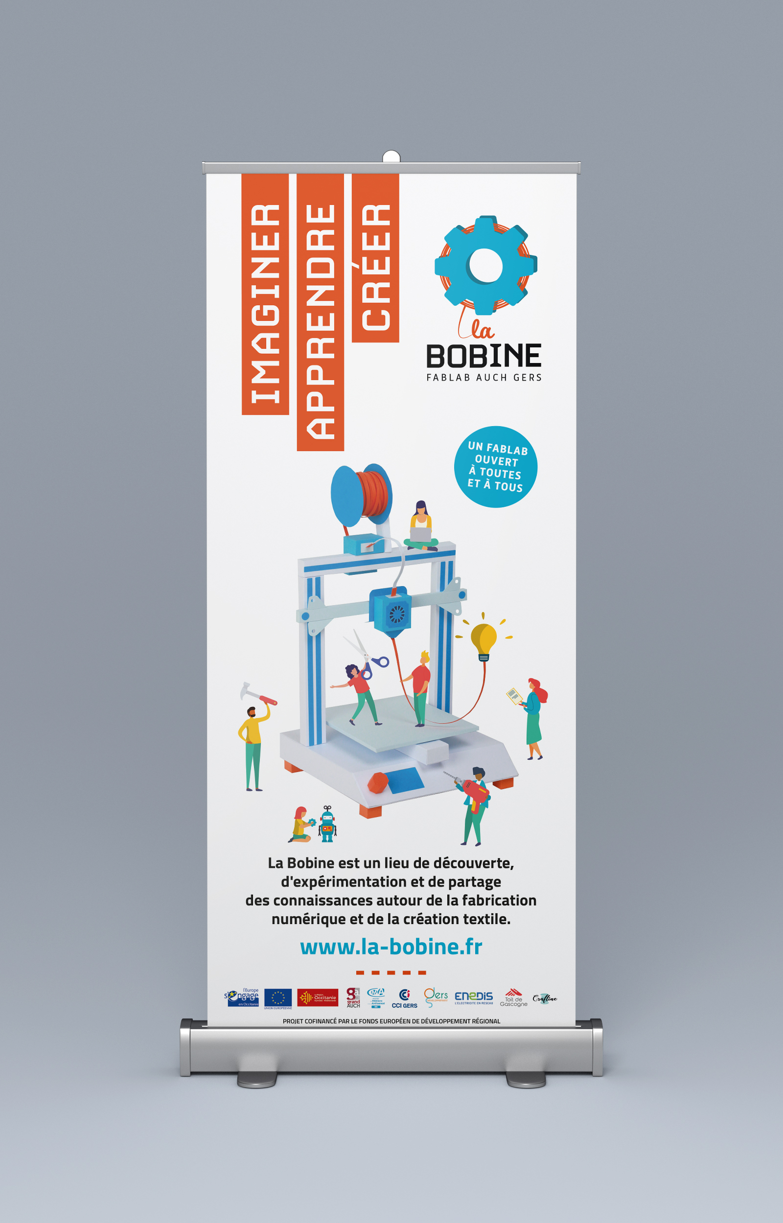 logo bobine fablab kakemono roll-up