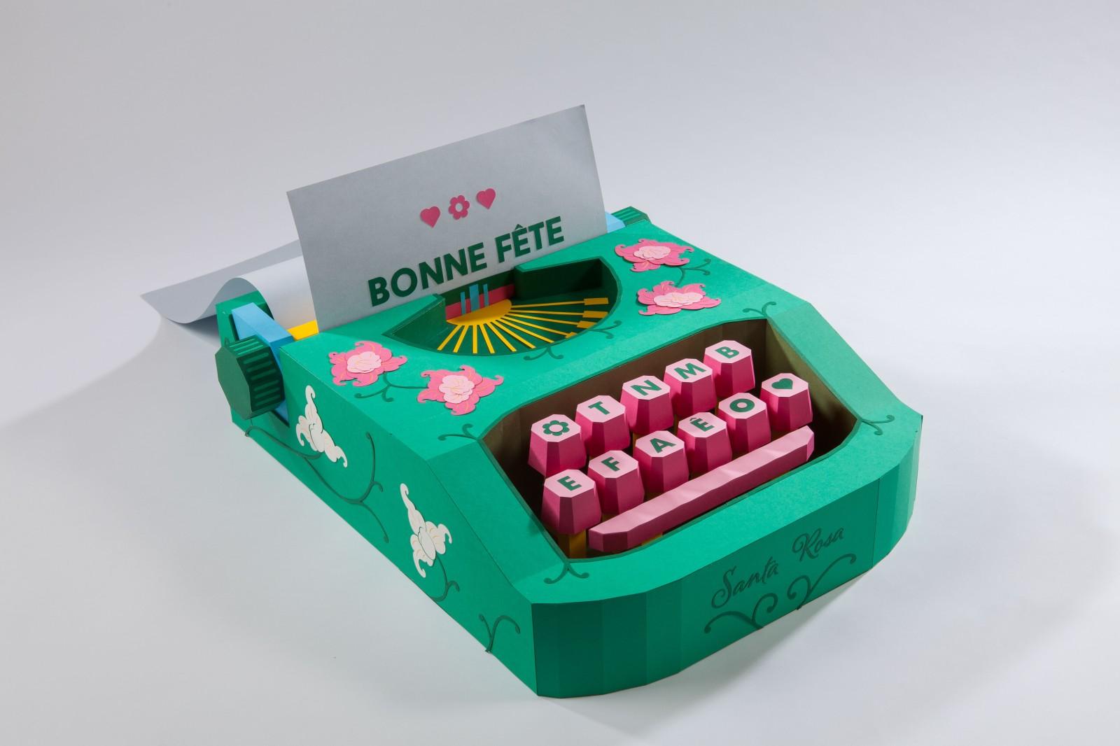 paper art frida kahlo machine écrire typewriter maman mother day