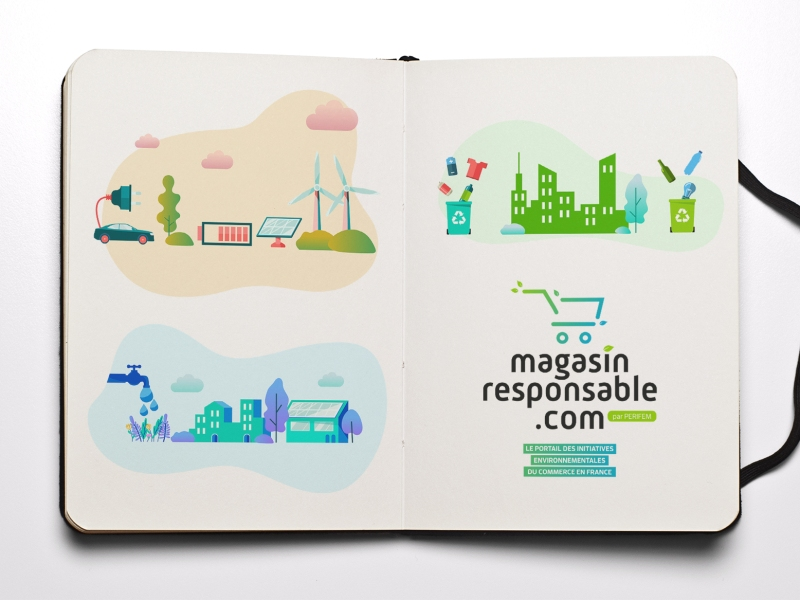 illustrations magasin responsable charte graphique Perifem